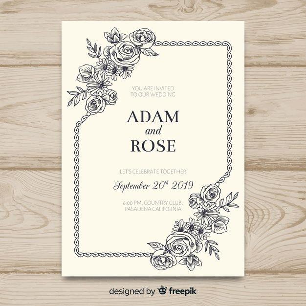 Download Vintage Floral Wedding Invitation Template For Free Floral Wedding Invitations Wedding Invitation Templates Vintage Floral Wedding Invitations