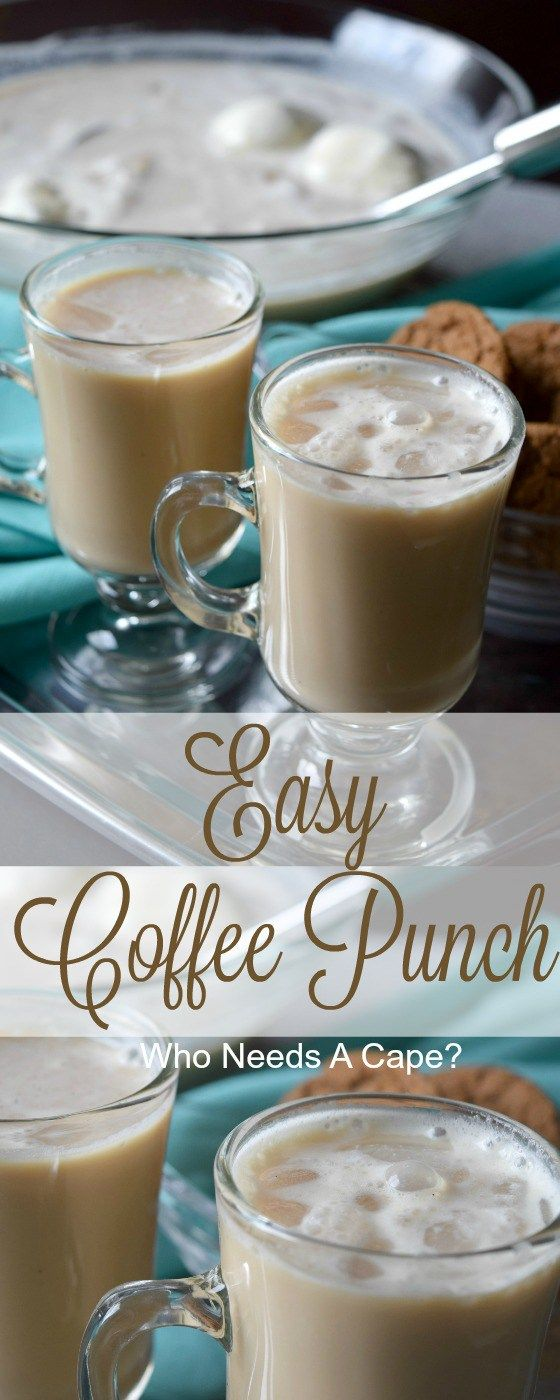 With coffee, creamer and ice cream this Easy Coffee Punch is just like a decadent iced coffee drink! Serve at your next party, your guests will love it. #ad #CoffeeCreamerCombos