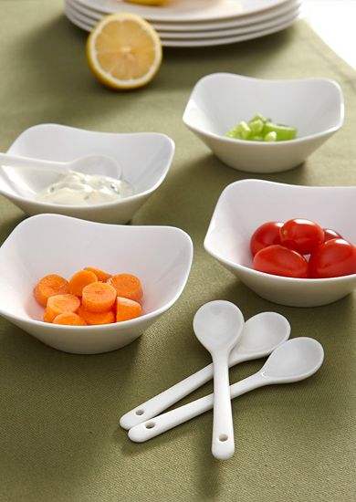 sleek and modern 8 piece shallow curve appetizer dish set #thiscounts #home #kitchen #plates #dishware
