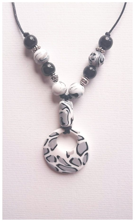 Polymer clay jewelry, snow leopard pendant necklace