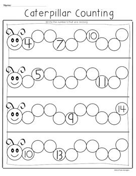FREEBIE! Caterpillar Counting. Supports Common Core for Kindergarten Math.  (K.1) Number, operation, and quantitative reasoning. The student uses numbers to name quantities. The student is expected to:  (C) use numbers to describe how many objects are in a set (through 20) using verbal and symbolic descriptions.