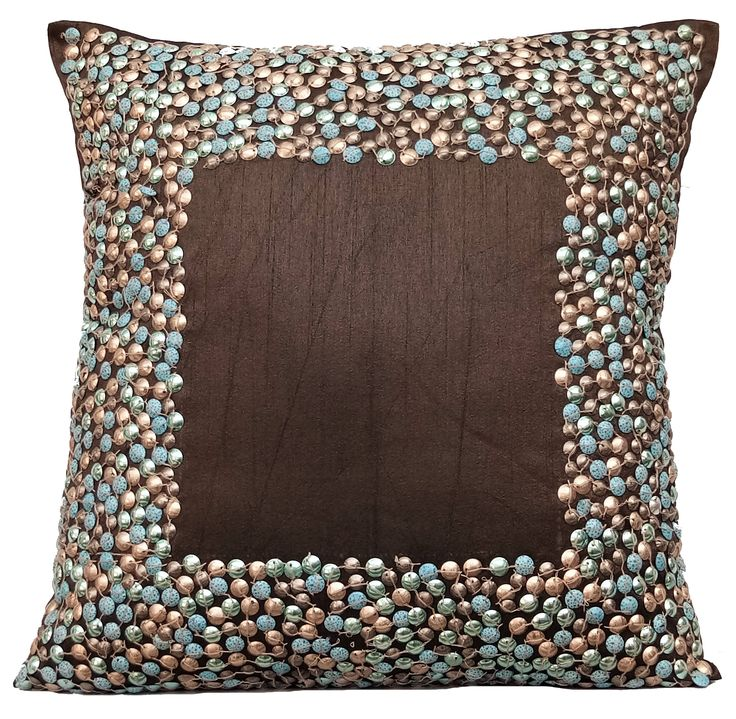 "Designer Brown Pillows Cover, Handmade 16""x16"" Silk Pillow Covers, Square Sparkly Glitter Sequins Embroidery Pillows Cover - Brown Around by TheHomeCentric on Etsy"