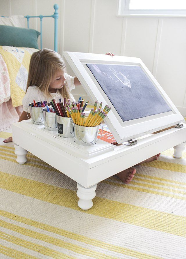 Kitchen Cabinet Into a Child's Desk