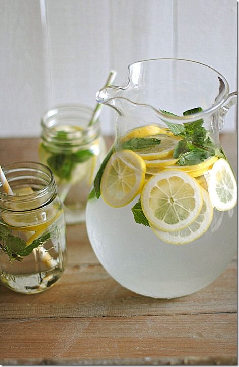 Lemon Water w. Fresh Mint. Aids In Weight Loss and give electrolytes, Vit.C, and Antioxidants.