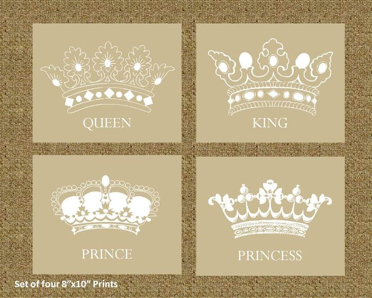 Home decor prints of a king queen prince and princess for Crown decorations home