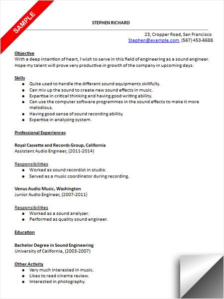 Audio Engineer Resume Sample Resume Examples Pinterest Audio - sample resume for internships