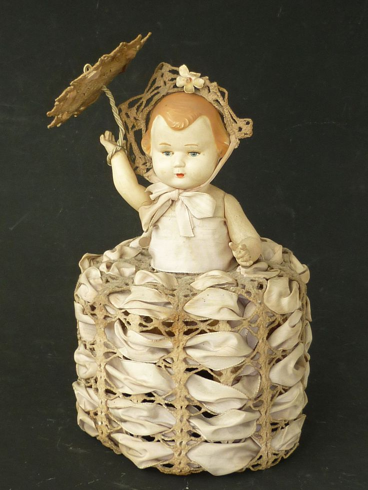 Vintage Czechoslovakian Technoplast Celluloid Doll with Old Clothing & Parasol