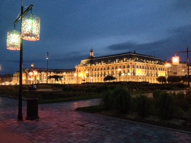 Bordeaux, France at night in front of the Palais de la Bourse. Our France river cruise stopped right out front.