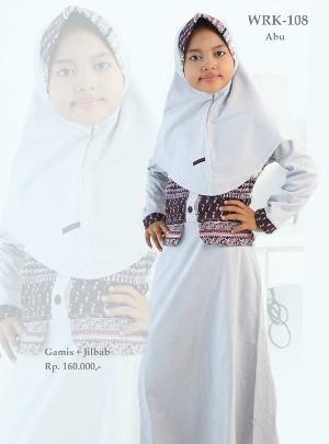 Baju Gamis Anak Perempuan WRK-108 Abu