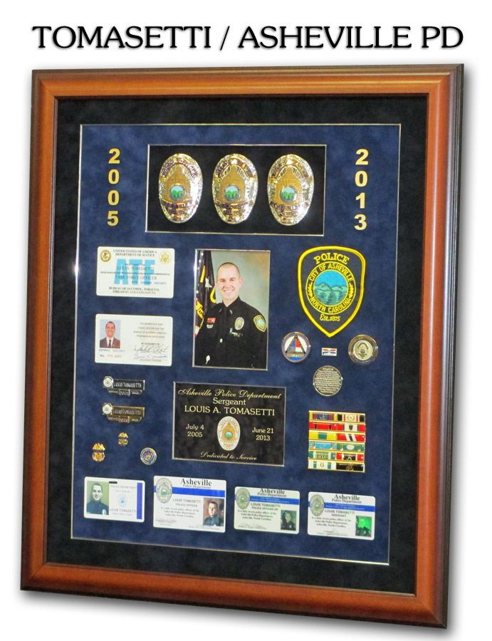 Police Shadowboxes from Badge Frame. Tomasetti / Asheville PD