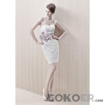 Korta-Brudklänningar-spetsar-strapless-sweetheart-urringning-korta-bröllopsklänningar