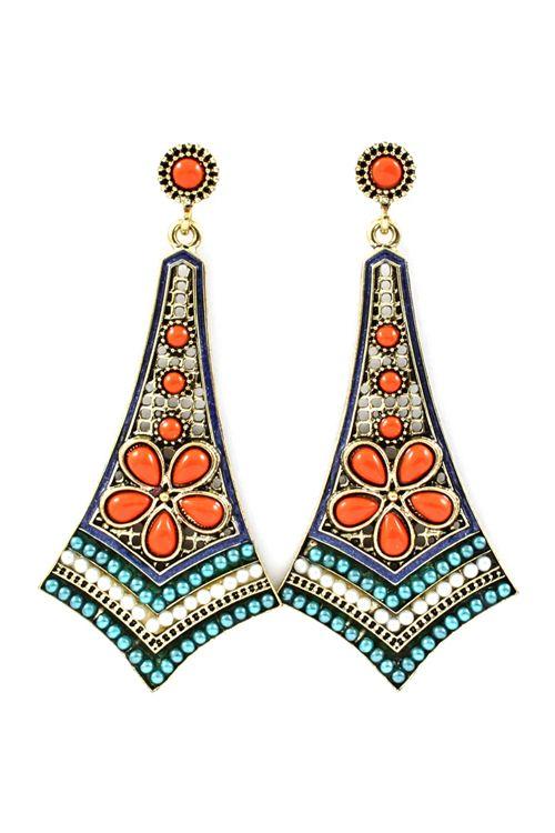 Poppy Folk Art Statement Earrings.