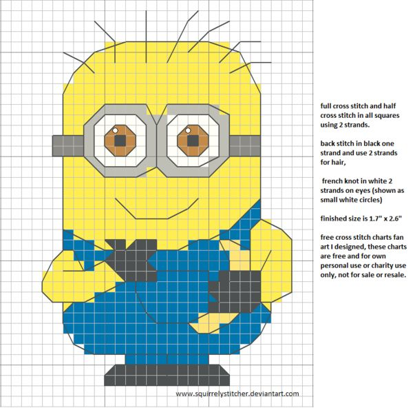 free cross stitch chart minion banana by squirrelystitcher.deviantart.com on @DeviantArt