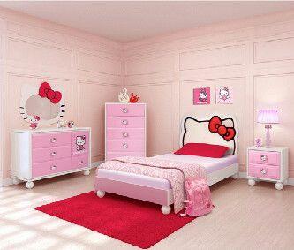 tempat tidur anak perempuasn, tempat tidur anak hello kitty, set dipan tempat tidur anak, kamar set anak