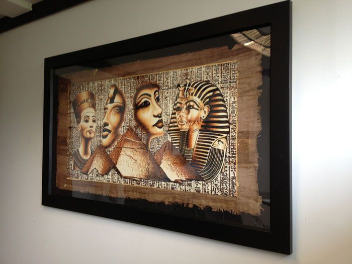 Framed Egyptian papyrus painting  Papyrus framing ideas