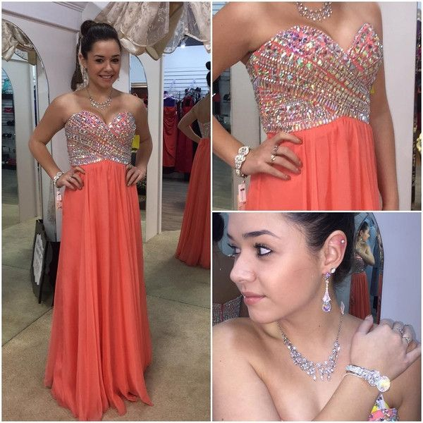 sweetheart prom dress,long Prom Dress,coral prom dress,chiffon prom dress,beaded evening dress,BD2880