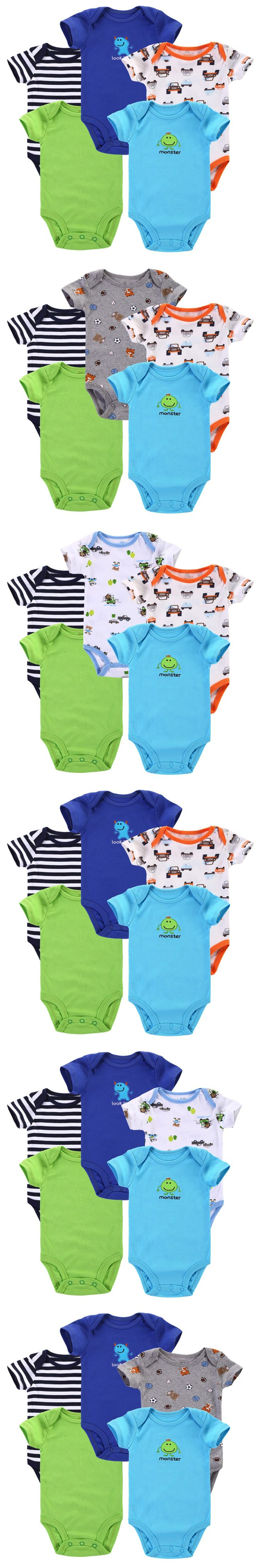 5pcs/lot 2015 Summer Baby Romper Newborn Baby Girl Boy Clothes Bebe Clothing roupas de bebe menino