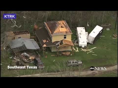 Aerial footage | damage near Houston after severe storms-tornadoes | fir...