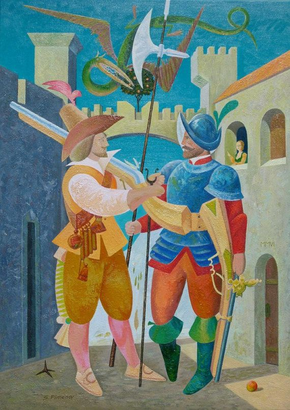 Two Musketeers, Dragon and a Princess, oil, canvas