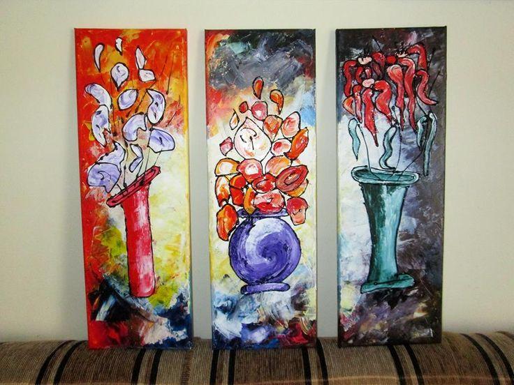 DECORETED WITH FLOWERS Wall decor, Acrylic Painting; Technique: Acrylic & structure on canvas; Size :60 X 60 cm (3 pieces 60 X 20 cm) Artwork available. dumitruciocan@yahoo.com www.facebook.com/ciocan.dumitru