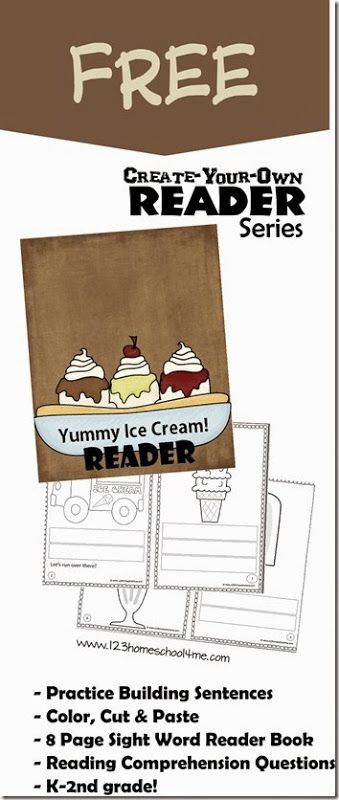 FREE!! Yummy Ice Cream Reader is part of the  Create Your Own Sight Word Reader for 1st grade and 2nd grade students to help them work on sentences, reading comprehension and sight words.  LOVE THIS!