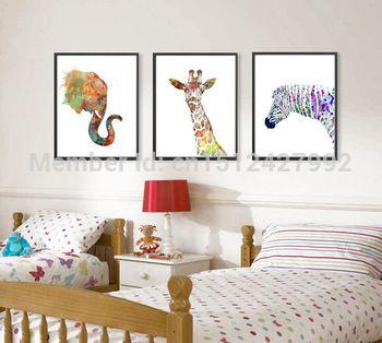 Nouveau livraison gratuite moderne décoration Wall Art image colorée afrique animaux Hippo toile impression peinture à l'huile toile Art