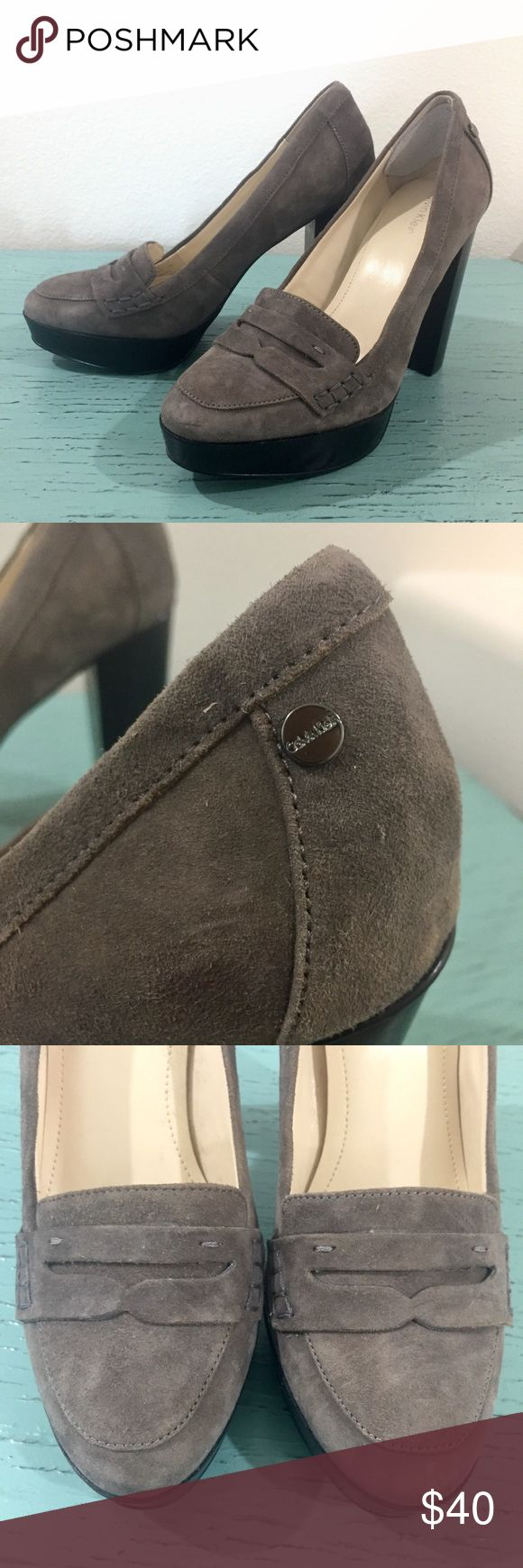 NEW:Calvin Klein Chunky Grey Suede Heels, 7 I've owned these for a few years but they have never been worn. Grey suede chinky loafer heels are accented on the side of each heel with CK hardware. The heels have already been fitted with adhesive heel protectors. Slightly dusty 🙊 4 inch heel on a one once platform. Calvin Klein Shoes Heels