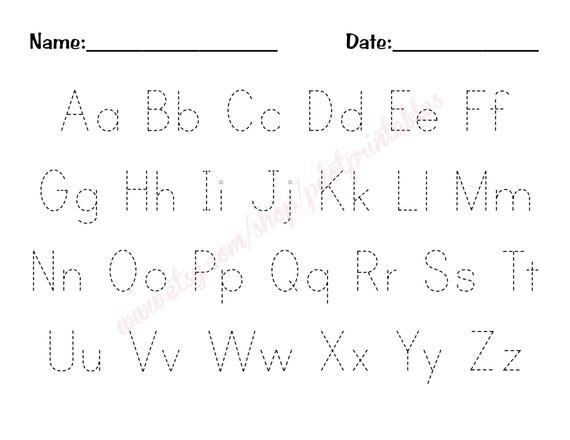 Alphabet Trace Worksheet PDF Digital Printable
