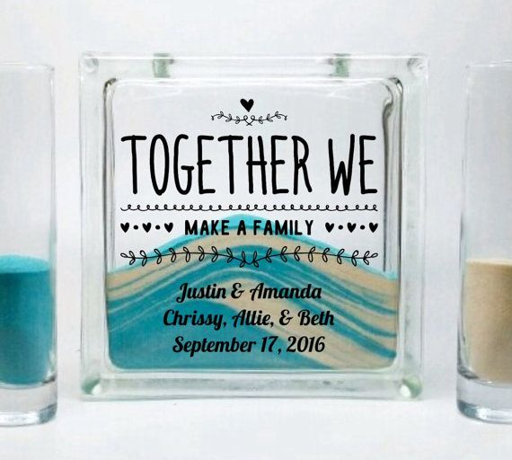 Sand Set for Blended Family - Unity Candle Alternative - Together We Make a Family - Beach Wedding Decor -Blended Family  Wedding Theme