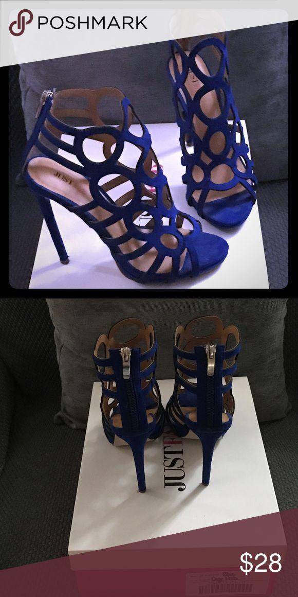 Justfab. Cobalt Blue Cage Heels. Justfab. Cobalt Blue Cage Heels. Size 7. Used twice. Like new JustFab Shoes Heels