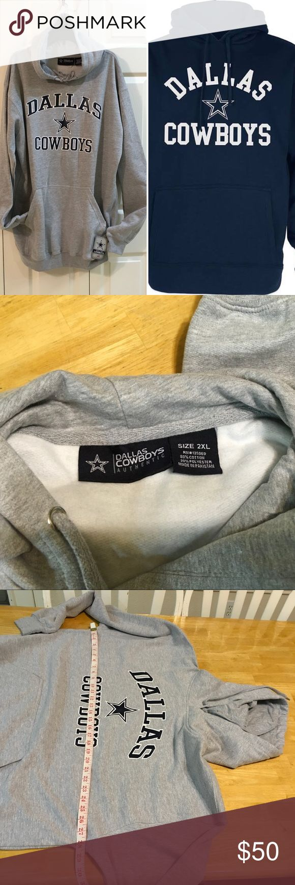 New NFL Dallas cowboy Hoodie sweatshirt SZ 2XL Men's Dallas Cowboys authentic NFL Athletic apparel Branded Heathered Gray Team Lockup Pullover Hoodie Material: 90%Cotton/10%Polyester Size 2XL Front pouch pocket Hood with drawstring Midweight hoodie suitable for moderate temperatures.Fleece lining Rib-knit cuffs and waist hem Screen print graphics/paint scratch as pictured. Little thread pull as pictured.  Check out photos for Measurements then tag sizes. Some photos are model for your…