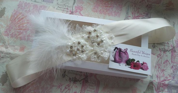 Handmade bridal belt with feather motif by Beautiful Unique