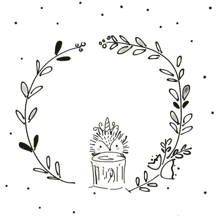 Black And White Whimsical Wreath Illustration Animal Illustrations