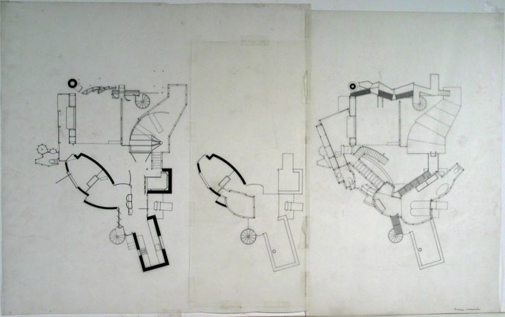Jesse Reiser, Nanako Umemoto. Aktion Poliphile: Hypnerotomachia Ero/machia/hypniahouse, project, Wiesbaden, Germany, Maquette for Three plans: ground floor, second floor, third floor. 1989