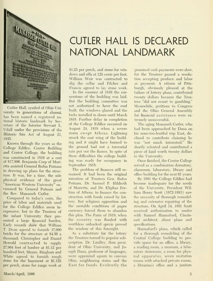 "The Ohio Alumnus, March-April 1966. ""Cutler Hall Is Declared National Landmark"" ""Cutler Hall, symbol of Ohio University to generations of alumni, has been named a registered national historical landmark by the Secretary of the Interior Stewart L. Udall under the provisions of the Historical SitE act of August 21, 1935."" :: Ohio University Archives"