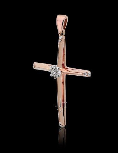 Σταυρός Βάπτισης για Κορίτσι Ροζ Χρυσό 18 Καρατίων (Κ18) με Διαμάντια