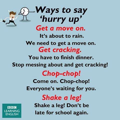 Ways to say 'HURRY UP' #learnenglish
