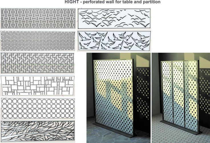 Different openwork partitions for different persons. Cutted with laser from steel sheet, can be powder coated any color you like.