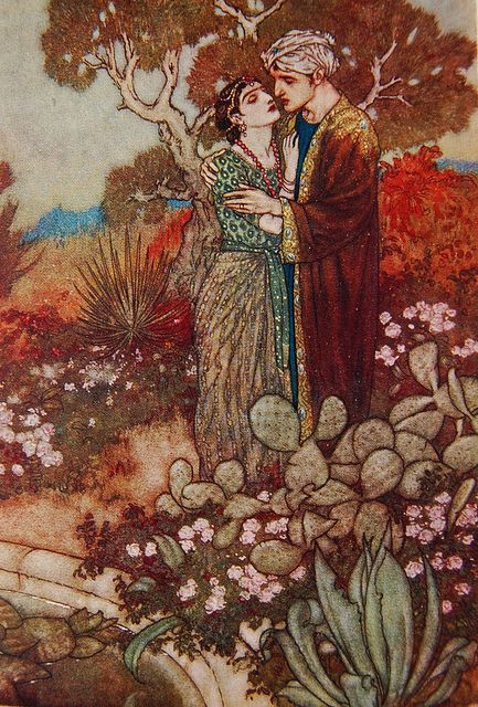 Edmund Dulac illustration in Rubáiyát of Omar Khayyám by Crossett Library Bennington College on Flickr.  Illustration by Edmund Dulac in Rubáiyát of Omar Khayyám by Omar Khayyám. Rendered into English verse by Edward Fitzgerald.