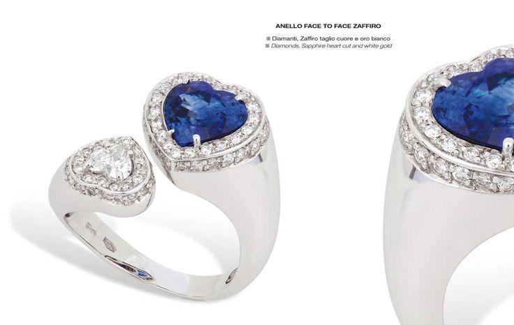 Anello face to face zaffiro - Diamonds, Sapphire heart cut and white gold - Diamanti, Zaffiro taglio cuore e oro bianco #jewelry #gioielli #luxury #madeinitaly #classic