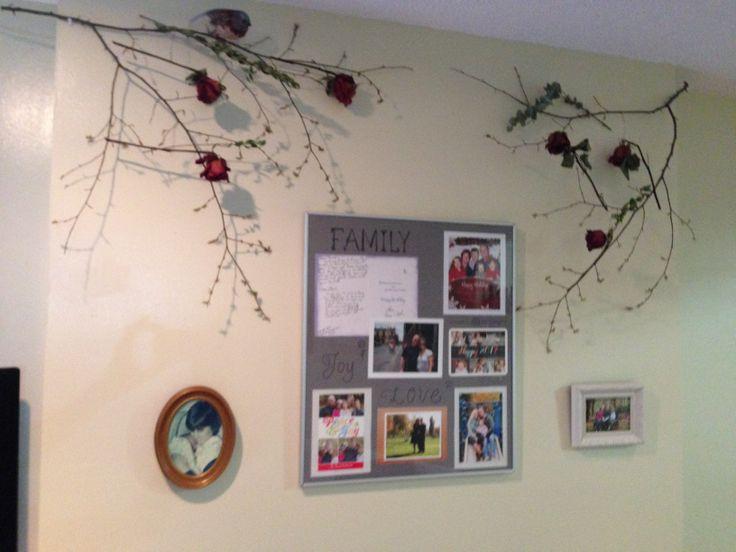 Decoración con ramas y rosas secas!
