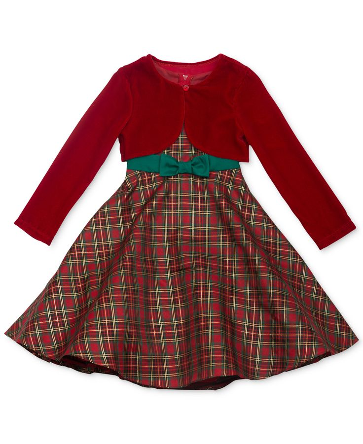 Rare Editions Girls' Tartan Plaid Dress and Bolero Jacket ...