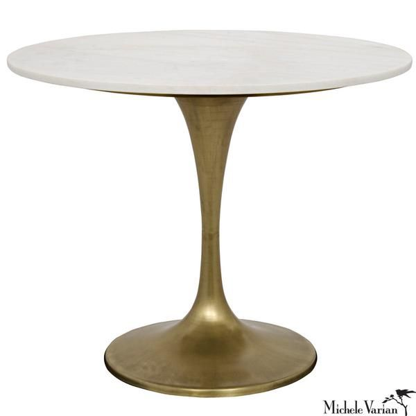 Round White Quartz Top Bistro Table With Br Finish Stem Base Michele Varian