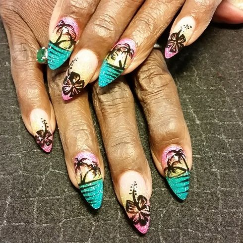 Beach silhouette by from Nail Art Gallery - 126 Best Tropical Nail Art Images On Pinterest Tropical Nail Art