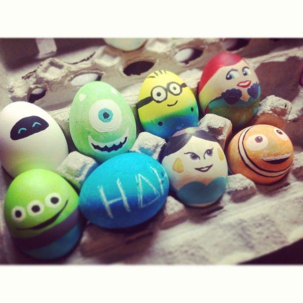 Animated Flm Character Easter Eggs. I can SOOOOO make these!!! I love Mike Wazowski from Monsters Inc! I could make dozens of Pixar eggs!!! LOL!