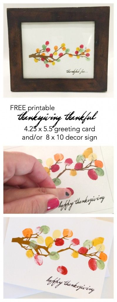 Thanksgiving | Create your own Thanksgiving Decor with this FREE Thanksgiving Printable Tree with fingerprint leaves! Print out this Thanksgiving Card to send to friends. The Idea Room