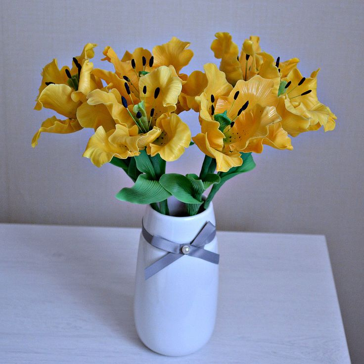 Artificial tulips, Bunch of 3 cold pocelain flowers , Mothers day gift, Yellow Easter decoration, Wedding anniversary, Fake tulips flowers, - pinned by pin4etsy.com