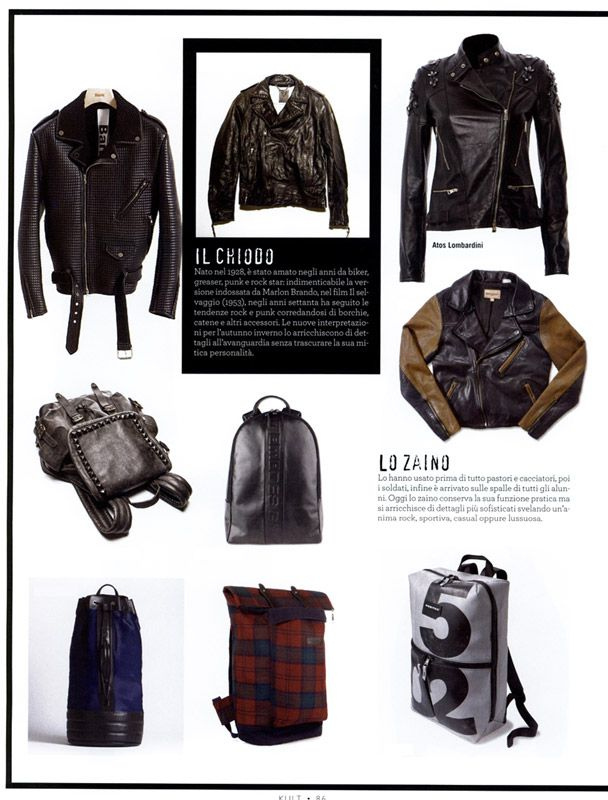KULT MAGAZINE Italia - December 2013 - Pag. 86: (top right) Studded #jacket, leather fabric, by #AtosLombardini __ #kult #wear #musthave #style