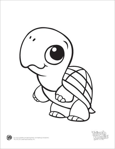Leapfrog printable baby animal coloring pages turtle for Cute coloring pages of turtles