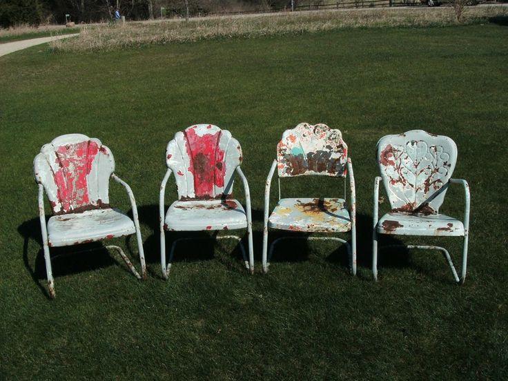 4 Vintage Metal Lawn Chair Garden Patio Porch - 1 is very RARE - Mid Century